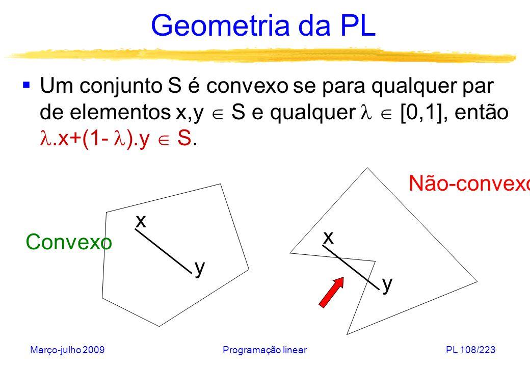 Geometria da PLUm conjunto S é convexo se para qualquer par de elementos x,y  S e qualquer   [0,1], então .x+(1- ).y  S.
